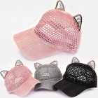 T71 Openwork Women Baseball Cap, Trendy Cat