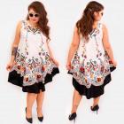 C17702 Asymmetrical Women Dress, Folk Print