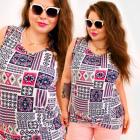 H1304 Aztec Top, Shirt With Straps, Plus Size