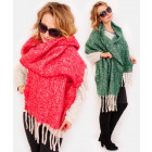 A1252 Large scarf - Plaid , fluffy, with Tassels