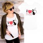 Cotton Women Shirt , L-2XL, I Love Cats, 5201