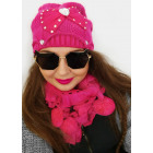 A1268 Womens Winter Set, Hat with a Heart + Scarf