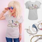 A886 T-Shirt Femme En T-Shirt , Top, Chaînes, Gris