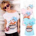 K477 Cotton Blouse, T-shirt, Funny Flamingo