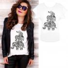 K589 Cotton T-Shirt , Top, Elephants, White