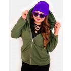 EM03 Women Oversize Hoodie, Plus Size, Khaki