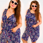 H1307 Summer Zippered Dress, Plus Size, Hippie