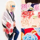 FL695 Frühlingsschal, Schal, romantische Rosen