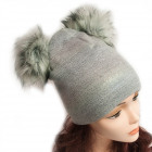 Winter Hat With Fleece, 2 Fur Pompoms, 5052