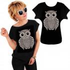 K595 Cotton T-Shirt , Top, Funny Owl, Black