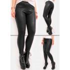 Warme legging, broek, zwart leer, mat, S-XL