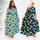 C17543 Long Dress, Plus Size, Exotic Flowers