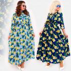C17543 Long Dress, Plus Size, Exotic Flowers