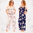 C17666 Women Overall, Straps, Floral Print