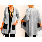 D14111 Cotton Jacket, Women Cardigan, Eco Leather