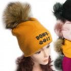 Winter Hat With Fleece, Fur Pompom 5047