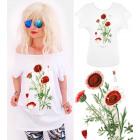 G1215 Cotton Blouse, Plus Size, Red Flower
