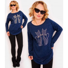 R112 Cosy Women Tunic, Blouse Oversize: Cats Love