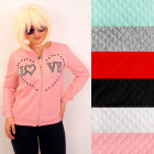 N075 Women Bomber Jacket, Quilted Sweatshirt, Love