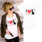K585 Cotton T-Shirt , Top, I Love Cats, White