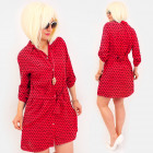 R97 Tied Women Dress, Loose Tunic, Red&Dots
