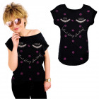 K567 Cotton T-Shirt , Top, Come Closer, Black