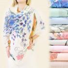 FL362 long scarf, neckerchief, CASCADE OF FLOWERS,