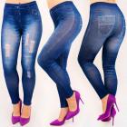 4708 Leggings Jeans, schöne Löcher, hohe Taille