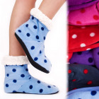4198 Velvet Warm Slippers, Faux Fur, Polka Dot