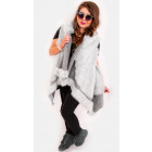 EM09 Fur Women Jacket, Lose Vest, Poncho, Gray