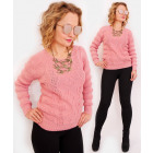 R58 Women Elegant Sweater, Wavy Weave
