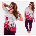 4516 Romantic Plus Size Damen Bluse, Rosen
