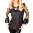 C24214 Made in Italy, Glossy Blouse with tulle