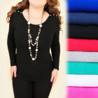 D2669 Classic Blouse Top, Large Sizes, Crystals