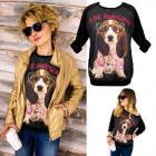 K501 Vrolijk en losse damessweater, geweldige hond
