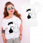 N056 Cotton Blouse, Plus Size, Two Cats