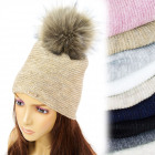 FL659 Warm Women's Cap, Fur Pompon