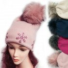 Winter Hat With Fleece, Fur Pompom 5050