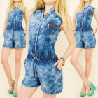 BI437 FASHION OVERALL, SHADED JEANS, SHORTS, coton