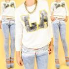 A816 Sweat-shirt en coton pour femme, Urban Print:
