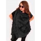 EM14 Fur Women Jacket, Vest, Poncho, Black Color