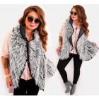 EM41 Fur Vest Winter Poncho Jacket, Mix
