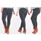 B16785 Chic Women Pants with Holes, Plus Size Gray