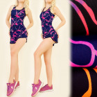 FL478 Set Top + Shorts, Fitness, Jogging, Neon
