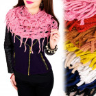 B10A16 Openwork Scarf, Chimney, Tassels and Gloss