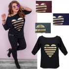 Blouse Plus Size, Tunic Oversize, gold Heart, 5008