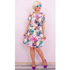 BI743 Elegant Dress, Full Of Flowers, Zipper