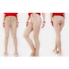 B16688 Waxed Women Pants, Large Sizes, Sandy Beige
