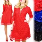 BI640 Trapezoid, Loose Dress, Shiny Lace