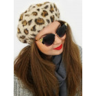 A1262 Womens Beret with Angora, Leopard Pattern